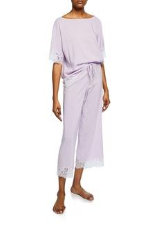 Natori Lace-Trim Short-Sleeve Lounge Set