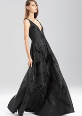 Natori Lacquer Basket Weave V-Neck Dress