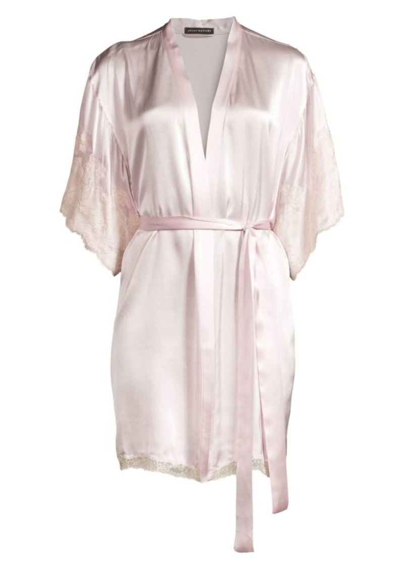 Lolita Lace-Trim Silk Robe