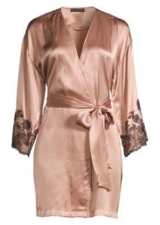 Natori Lolita Silk & Lace Wrap Robe