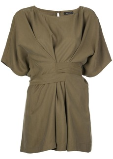 Natori loose-fit wrap-waist blouse