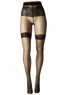Natori Luxe Lace Back Seam Sheer Tights