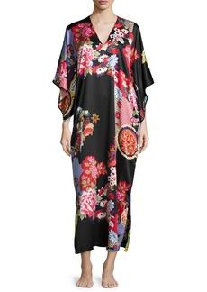 Natori Mikado Floral-Print Lounge Caftan