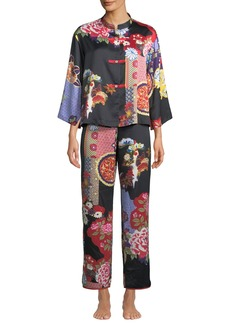 Natori Mikado Mandarin-Collar Pajama Set
