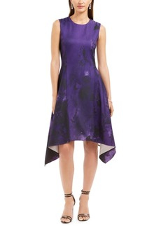 N Natori Abstract Floral Jacquard A-Line Dress