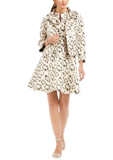 N Natori Animal-Print Jacquard A-Line Dress