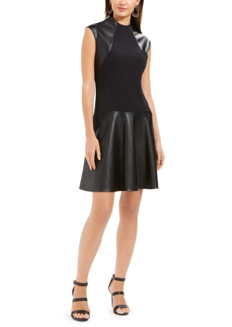 N Natori Faux-Leather & Scuba Flounce Dress