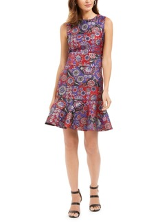 N Natori Floral Patchwork Jacquard Obi Dress