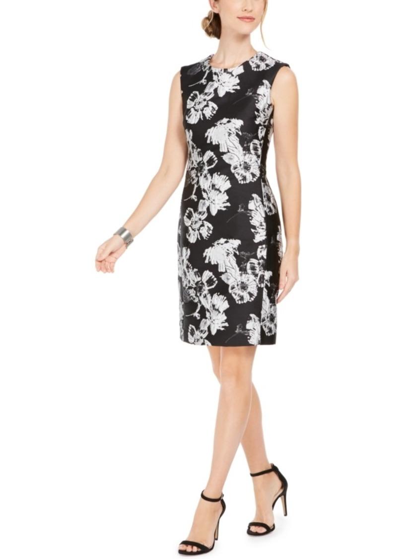 N Natori Floral-Print Jacquard Sheath Dress