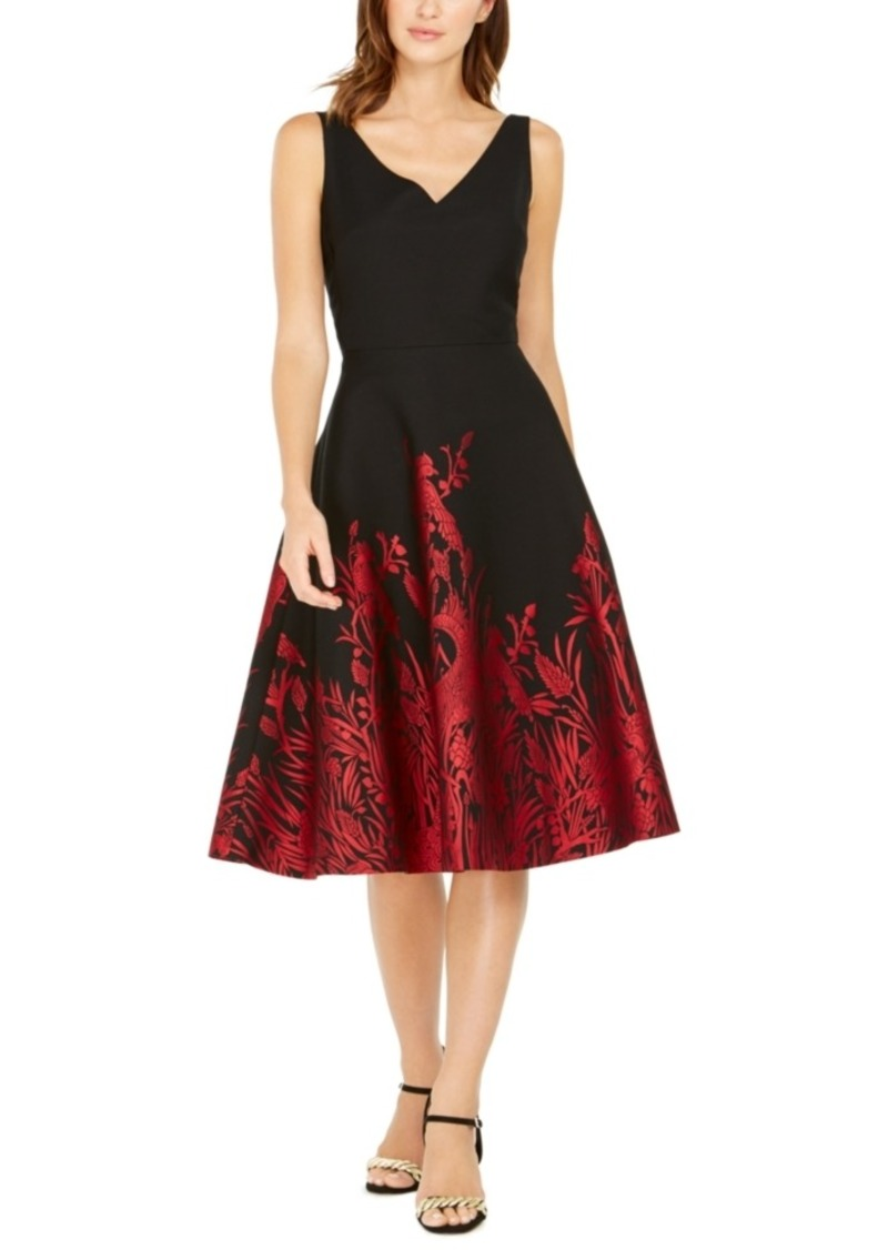 N Natori Jacquard Peacock A-Line Dress