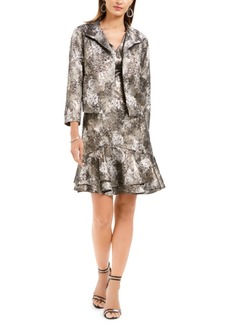 N Natori Metallic Jacquard Flounce Dress