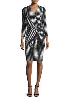 Natori 3/4-Sleeve Geometric-Print Dress