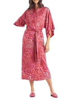 Natori Animal Print Long Satin Robe