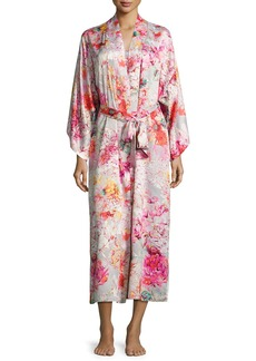 Natori Autumn Satin Lounge Long Robe