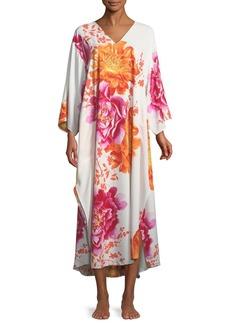 Natori Bali Floral-Print Long Caftan