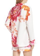 Natori Bali Floral Print Satin Short Pajamas