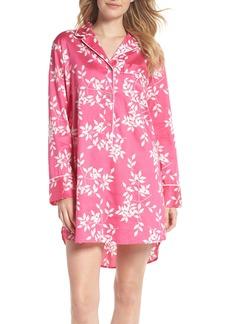 Natori Branch Print Cotton Sateen Sleep Shirt