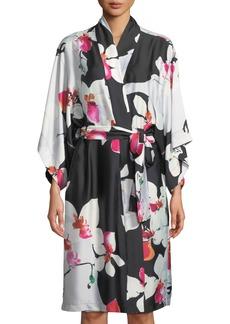 Natori Cattleya Floral-Print Satin Robe