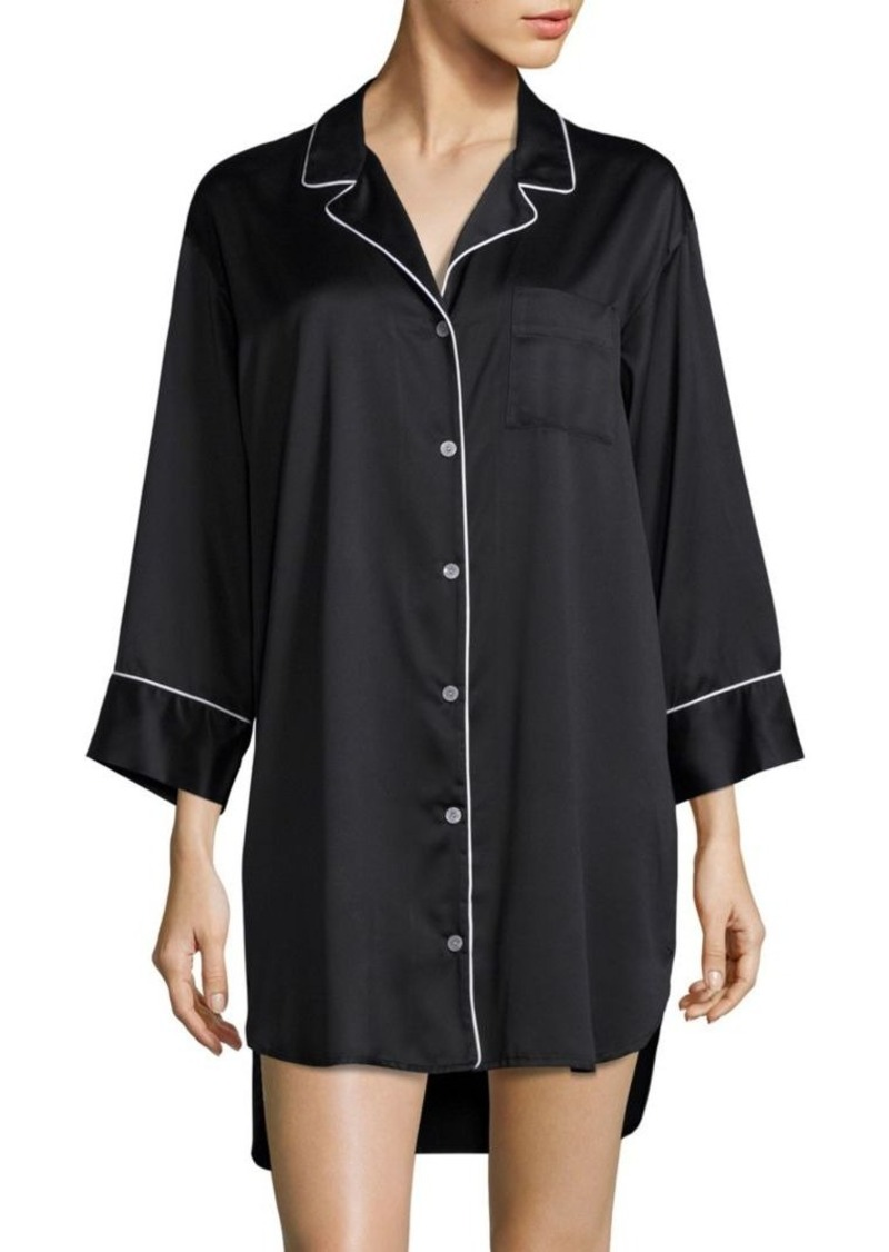 Natori Charm Essentials Solid Button Down Sleepshirt