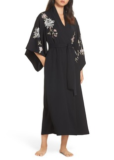 Natori Claudette Embroidered Satin Robe