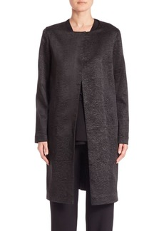 Natori Crinkle Collarless Coat
