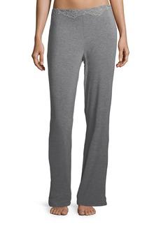 Natori Feathers Lace-Trim Lounge Pants