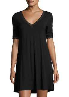 Natori Feathers Lace-Trim Sleepshirt  Black