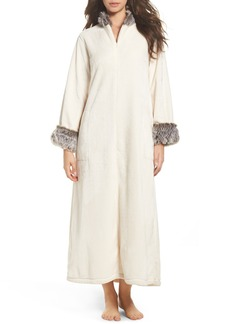 Natori Fleece & Faux Fur Caftan