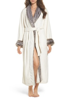 Natori Fleece & Faux Fur Robe