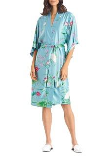 Natori Floral Print Satin Wrap Robe