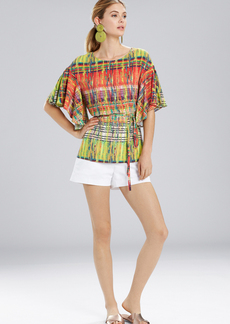 Natori Jeepney and Map Flutter Sleeve Top