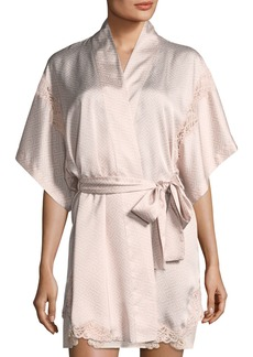 Natori Labyrinth-Print Short Satin Robe