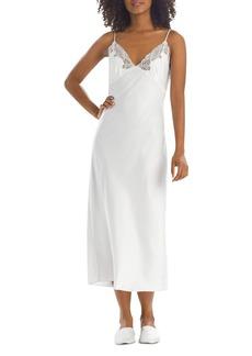 Natori Lace Trim Satin Nightgown
