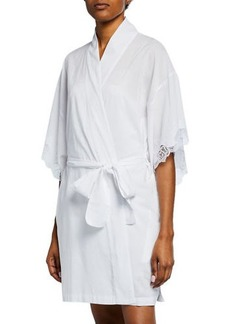 Natori Lace-Trim Short Cotton Robe