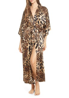 Natori Leopard Print Long Satin Robe