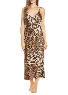 Natori Leopard Print Satin Nightgown