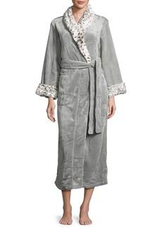 Natori Long Robe with Animal-Print Trim