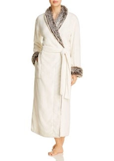Natori Long Robe with Faux Fur