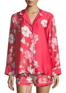 Natori Magnolia Print Satin Shortie Pajama Set