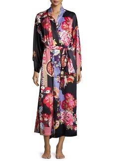 Natori Mikado Floral-Print Long Robe  Black