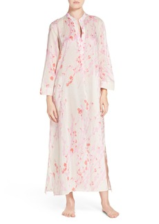 Natori Orchid Spray Split Neck Caftan