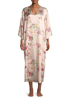 Natori Perennial Floral-Print Silk Caftan