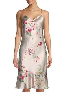 Natori Perennial Floral-Print Silk Nightgown