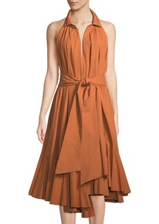 Natori Ruffle Halter Fit-and-Flare Dress