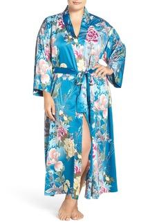 Natori 'Serene' Floral Charmeuse Robe (Plus Size)
