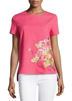 Natori Shibori Pique Floral Embroidered Top