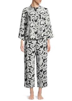 Natori Silk Road Mandarin-Collar Satin Pajama Set