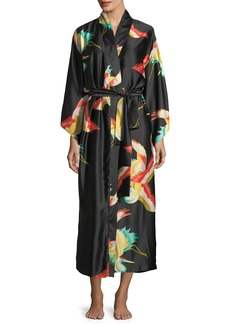 Natori Vermillion Bird-Print Satin Long Robe