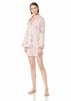 Natori Women's Cotton Sateen Printed Pajama Short Set  XL