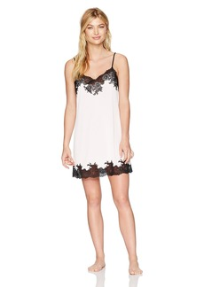 Natori Women's Enchant Solid Slinky Chemise with Lace Blush Pink with Black Lace
